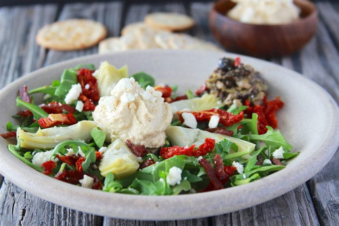 Artichoke, Sun-dried Tomato, Hummus Salad is reminiscent of the Mediterranean cuisine and fabulously healthy! www.cookingwithruthie.com