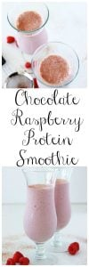 Chocolate Raspberry Protein Smoothie is a healthy combination of flavors that your body will thank you for! www.cookingwithruthie.com