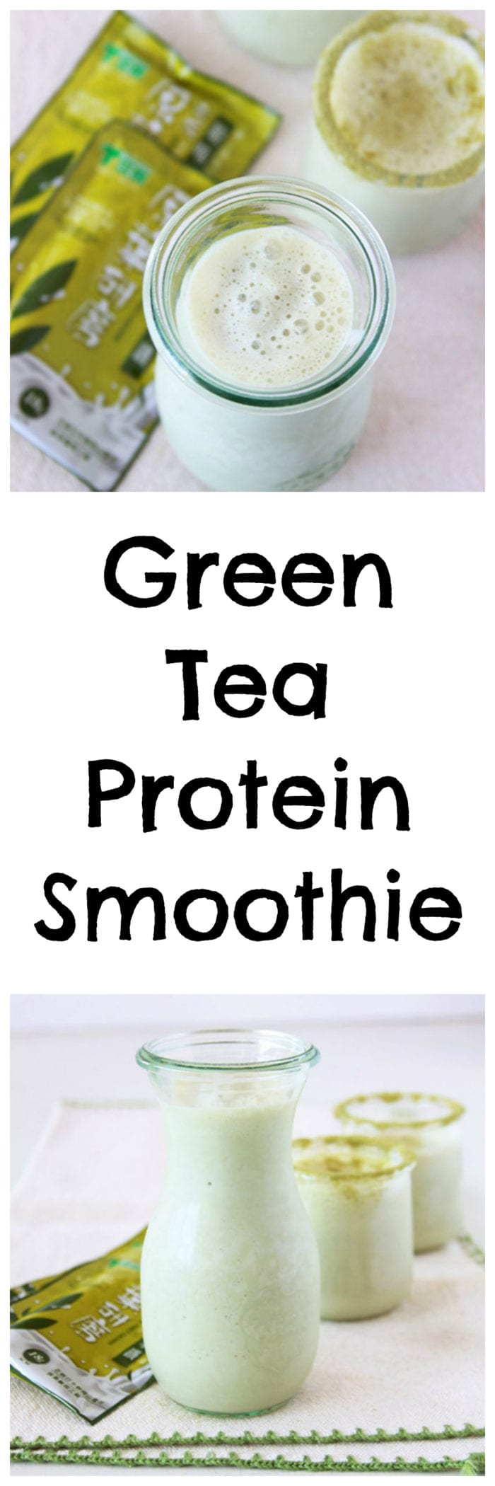 Green Tea Protein Smoothie is one our favorites and good for your body too! www.cookingwithruthie.com