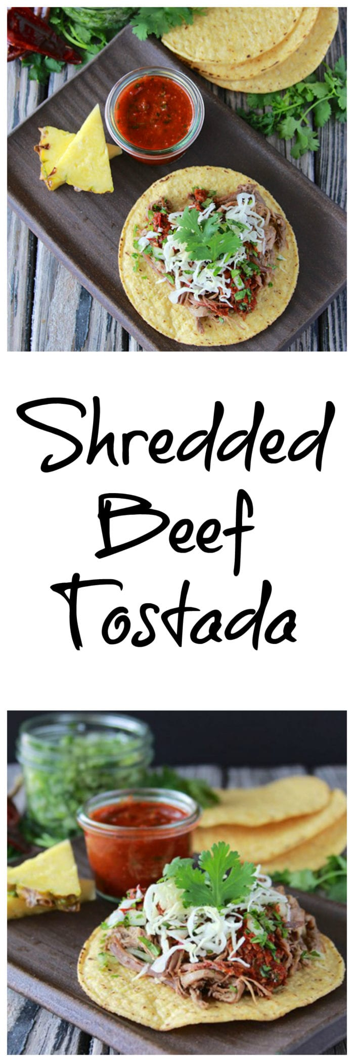 Shredded Beef Tostada is a filling and festive week night dinner. . . it's one that is sure to please the whole family!www.cookingwithruthie.com