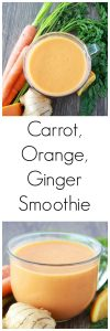 Carrot, Orange, Ginger Smoothie will give an awesome jump start to your morning! www.cookingwithruthie.com