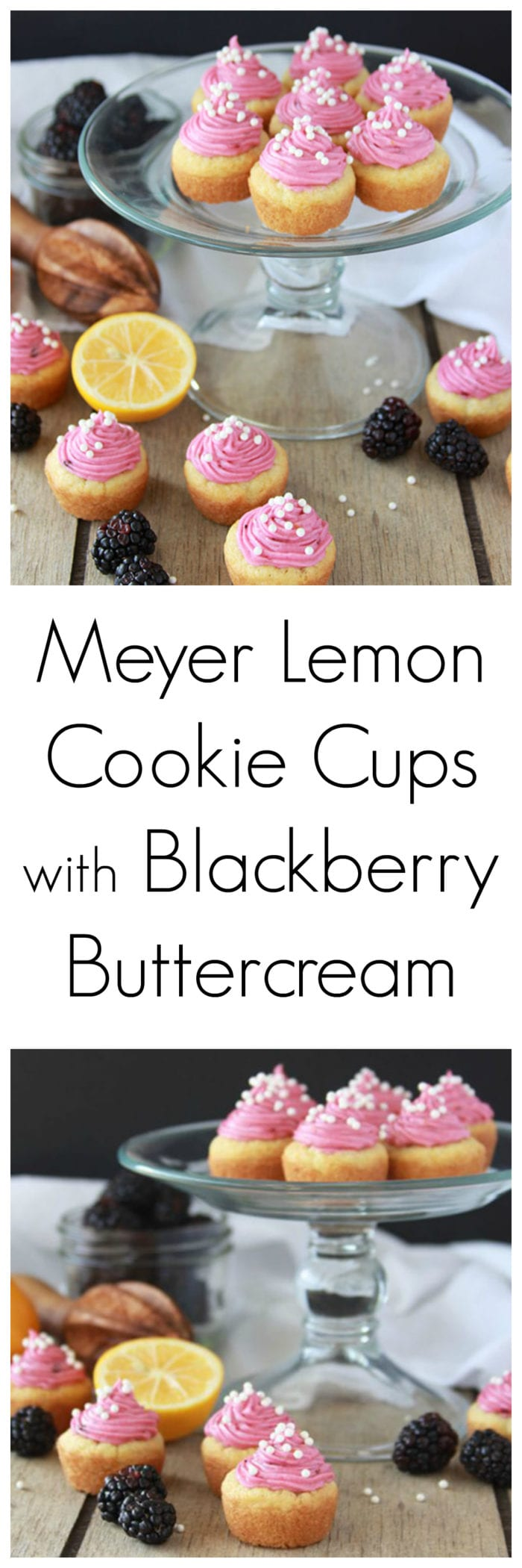 Meyer Lemon Cookie Cups with Blackberry Buttercream is a dainty, lovely, decadent dessert! www.cookingwithruthie.com