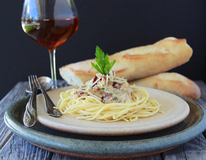 Bacon, Mushroom, Shallot Alfredo with Linguini will create delicious memories for your special occasions! www.cookingwithruthie.com