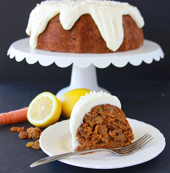 Carrot Bundt Cake with Lemon Cream Cheese Frosting in celebration of Madi's birthday! www.cookingwithruthie.com