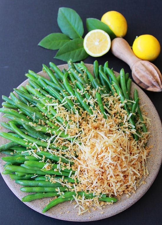 Green Beans with Meyer Lemon Vinaigrette and Parmesan Crumbs for your Mother's Day! www.cookingwithruthie.com