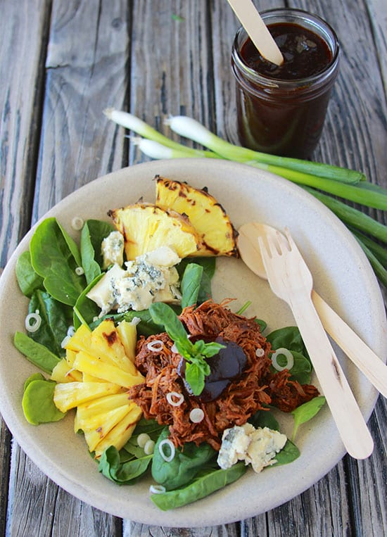 Grilled Pineapple, Jackfruit, and Gorgonzola Salad is quick and easy to make for your summertime lunches! www.cookingwithruthie.com