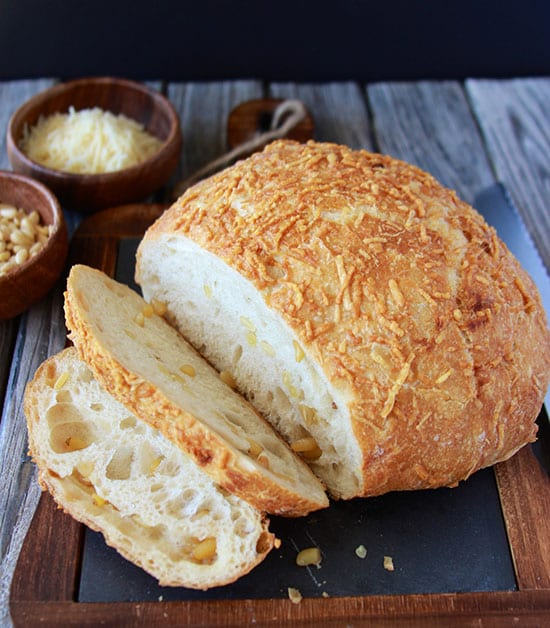 Parmesan Pine Nut Artisan Loaf is so simple to make and perfect for the holidays! www.cookingwithruthie.com