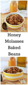 Honey Molasses Baked Beans are a must-make for your summertime BBQ's! www.cookingwithruthie.com