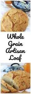 Whole Grain Artisan Loaf is a no-knead loaf that's moist inside with a crunchy crust! YUM!! www.cookingwithruthie.com