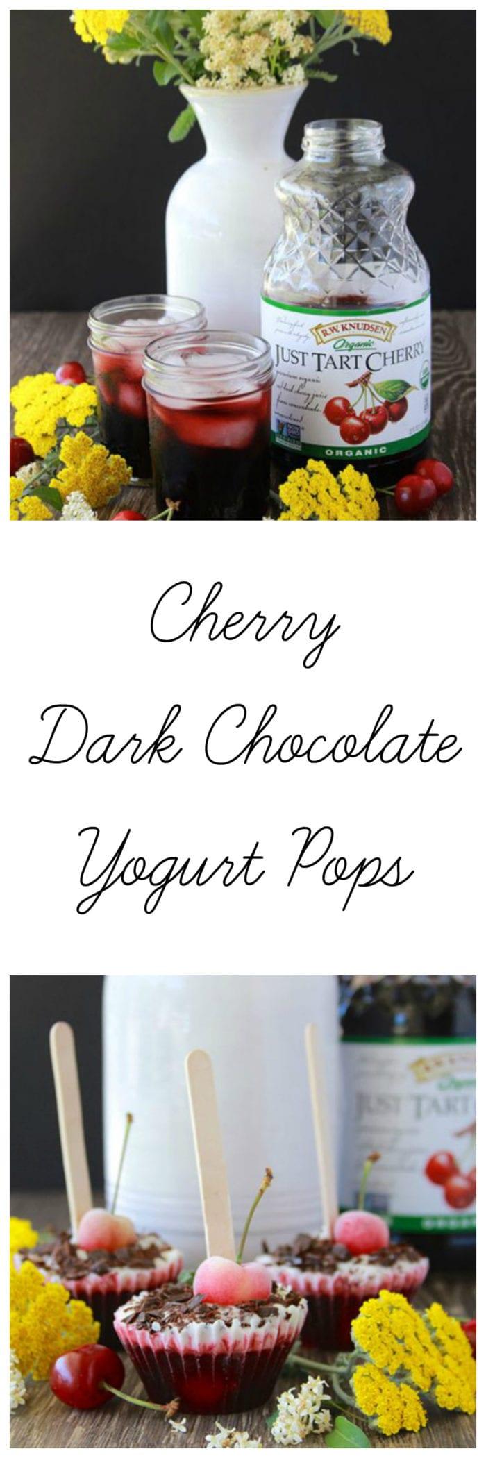 Cherry Dark Chocolate Yogurt Pops will keep you cool this summer! www.cookingwithruthie.com #ad @walmart #KnudsenFarmToBottle #WhatsYourJuiceMadeOf