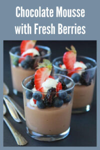 What are your 4th of July plans? Mine involve this inedible Chocolate Mousse with Fresh Berries! Gosh... doesn't it look spectacular? Chocolate Mousse with Fresh Berries just screams 4th of July. #4thofjuly #chocolatemousse #patrioticdessert #partyideas