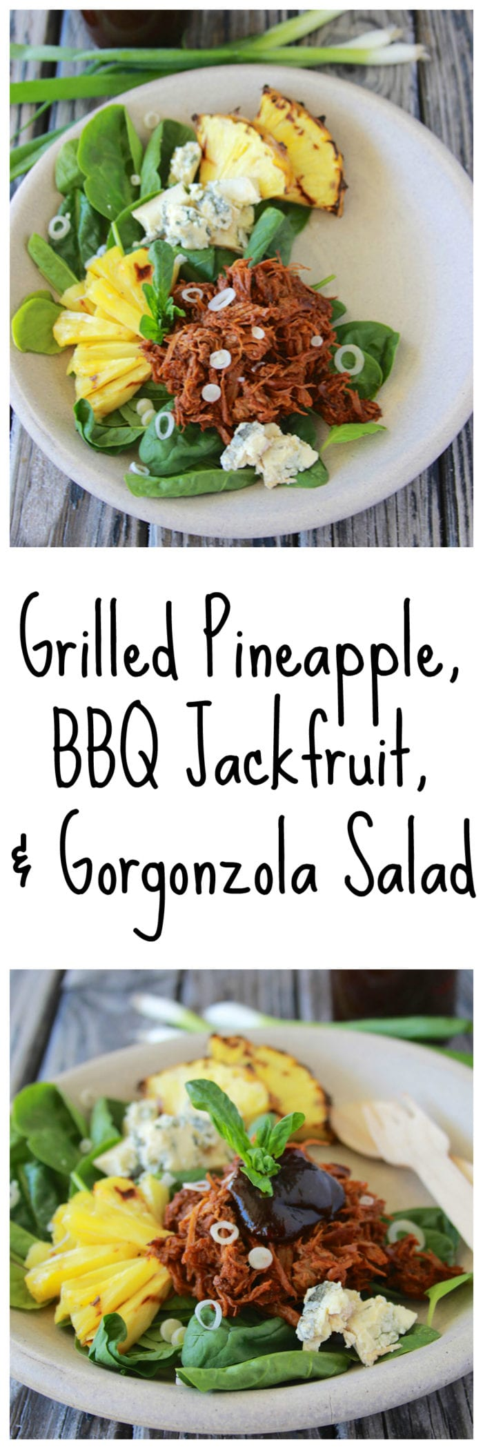 Grilled Pineapple, BBQ Jackfruit, and Gorgonzola Salad is quick and easy to make for your summertime lunches! www.cookingwithruthie.com