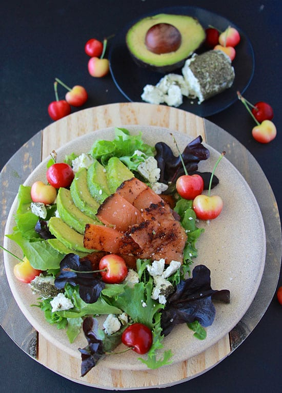 Smoked Salmon, Cherry, Avocado Feta Salad is packed with flavor that's like magic on your tastebbuds! www.cookingwithruthie.com