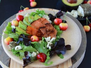 Smoked Salmon, Cherry, Avocado Feta Salad is packed with flavor that's like magic for your tastebuds! www.cookingwithruthie.com