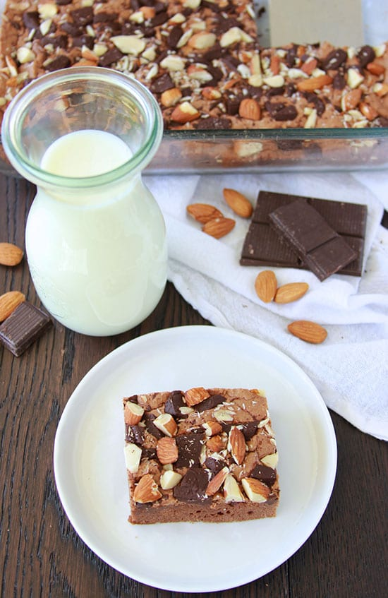 Dark Chocolate Almond Brownies are decadent and so wonderful with a tall glass of milk! www.cookingwithruthie.com