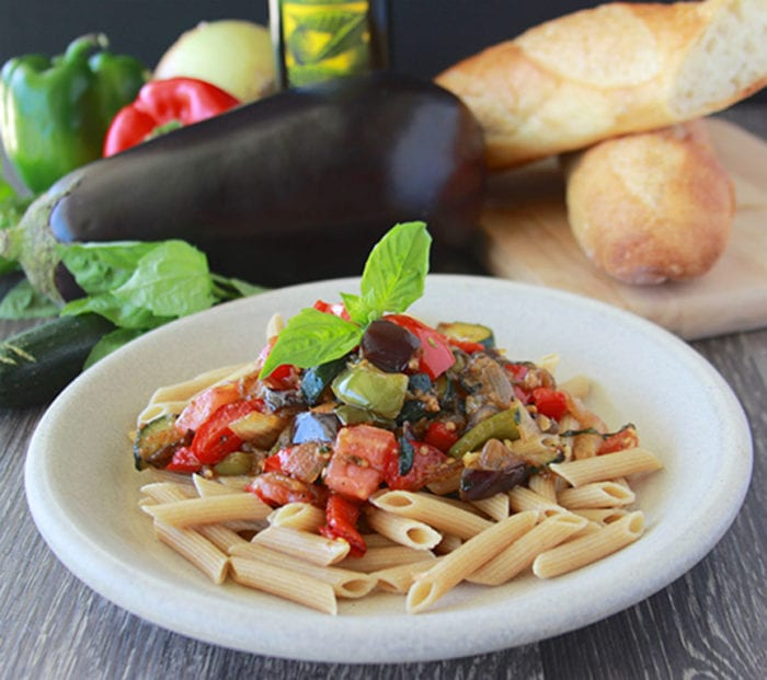 Hearty Ratatouille with Penne Pasta Recipe is a delight with the garden fresh vegetables available this time of year!by cookingwithruthie.com