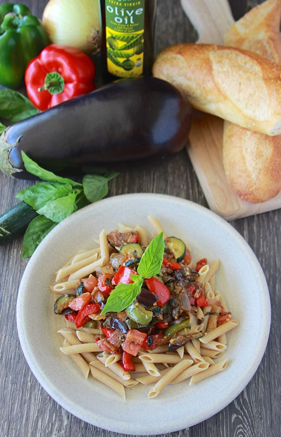 Hearty Ratatouille with Penne Pasta is the best way to enjoy all your garden fresh vegetables this time of year! www.cookingwithruthie.com