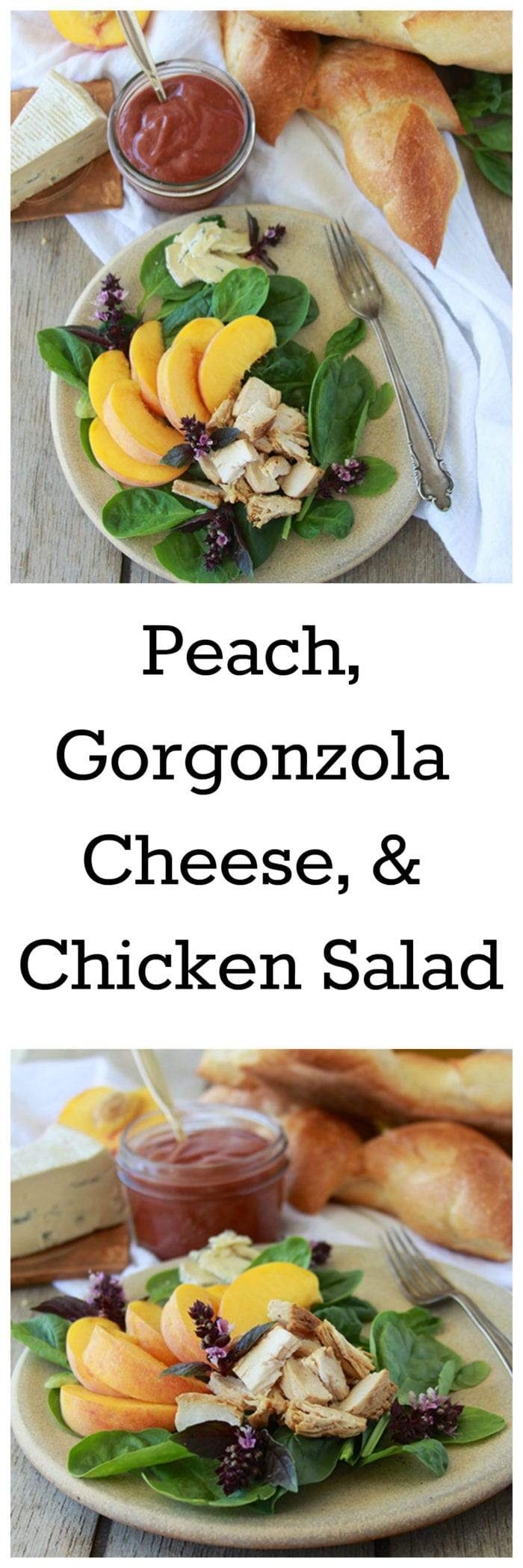 Peach, Gorgonzola Cheese, and Chicken Salad is mouth-watering and packed with delicious nutrition! www.cookingwithruthie.com