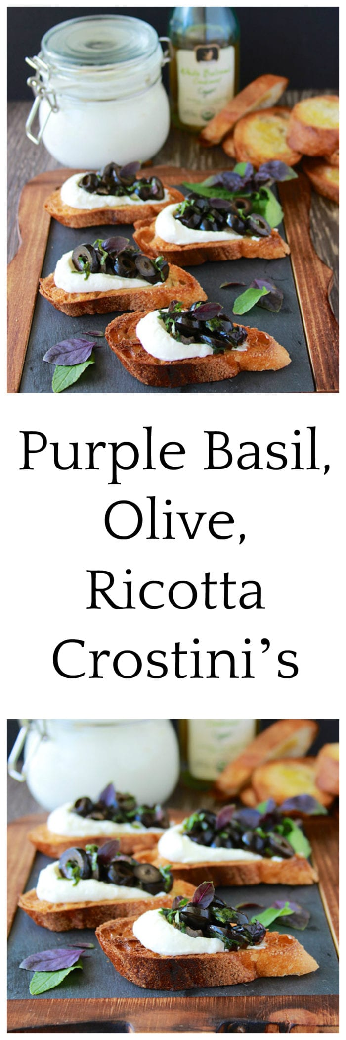 Purple Basil, Olive, Ricotta Crostini's will make you the talk of the town, they'll be your favorite go-to appetizer!!www.cookingwithruthie.com