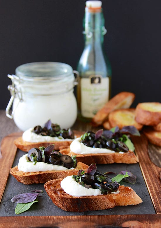Purple Basil, Olive, Ricotta Crostini's will make you the talk of the town! www.cookingwithruthie.com