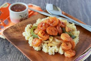 Shrimp, Cabbage, Potato on Quinoa is a healthy and flavorful dinner! www.cookingwithruthie.com