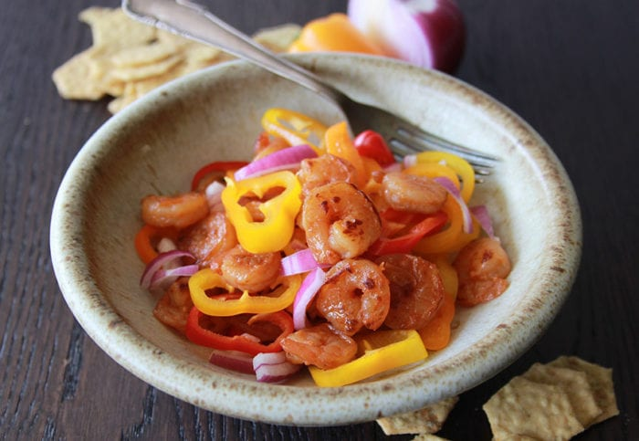 Shrimp and Petite Peppers Salad is packed with all kinds of great tasting and good for you ingredients! www.cookingwithruthie.com
