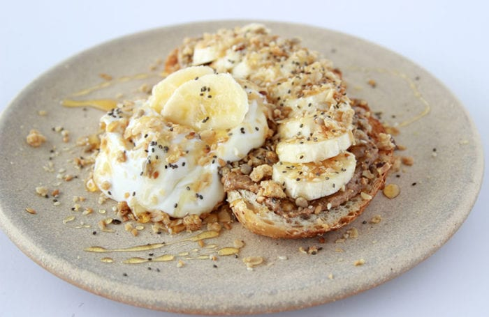 Banana, Almond Butter, Granola Toast is a flavorful and packed with delicious nutrition! www.cookingwithruthie.com
