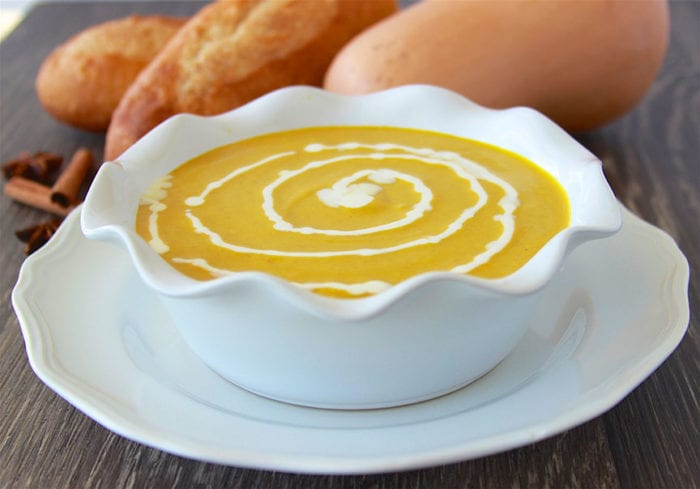Butternut Squash Soup with Cinnamon Crema is like autumn in a bowl! www.cookingwithruthie.com