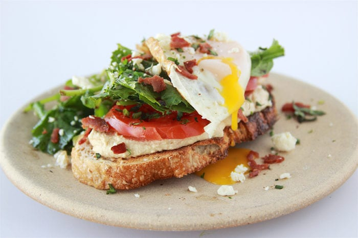 Hummus, Tomato, Feta with Egg Toast will power you through the day! www.cookingwithruthie.com
