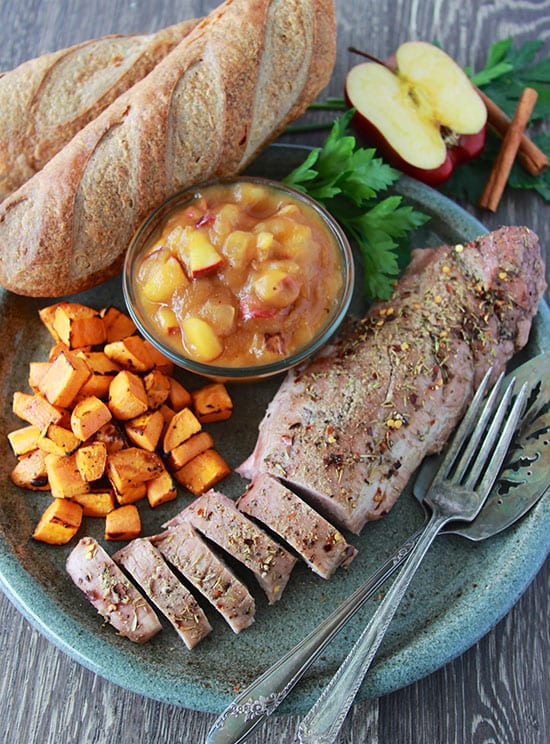 Apple Butter Pork Loin with Roasted Sweet Potatoes by Cooking with Ruthie