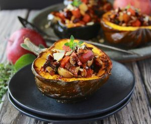 Apple and Sweet Potato Stuffed Acorn Squash are filled with all the aromas and flavors of autumn! www.cookingwithruthie.com #ad @walmart