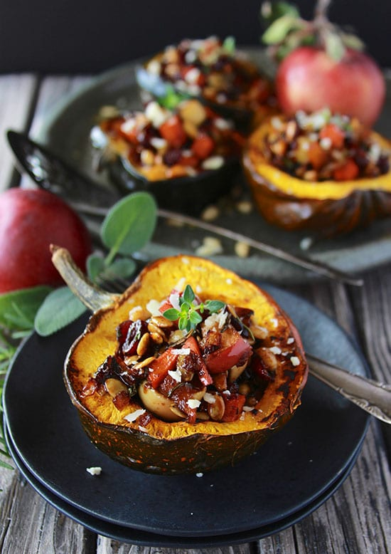 Apple and Sweet Potato Stuffed Acorn Squash are filled with a flavorful combination of autumn flavors! www.cookingwithruthie.com #ad @walmart