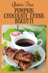Our Gluten-Free Pumpkin Chocolate Chunk Biscotti contains all the best of fall ingredients! Along with all the normal pantry cooking ingredients, you'll need pumpkin puree, dark chocolate chunks, and pumpkin spice coffee. It's the best possible fall biscotti to go along with your morning cup of joe! || cookingwithruthie.com #pumpinkspice #coffee #biscotti #glutenfree #pumpkinbiscotti #pumpkincoffee