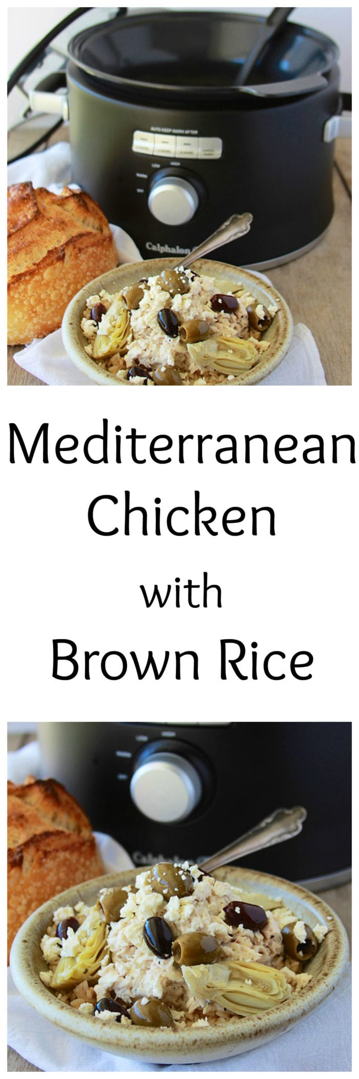 Mediterranean Chicken with Brown Rice is a slow cooker recipe that will become a regular at your dinner table! Delish!! www.cookingwithruthie.com #MyCalphalonKitchen #CollectiveBias #ad