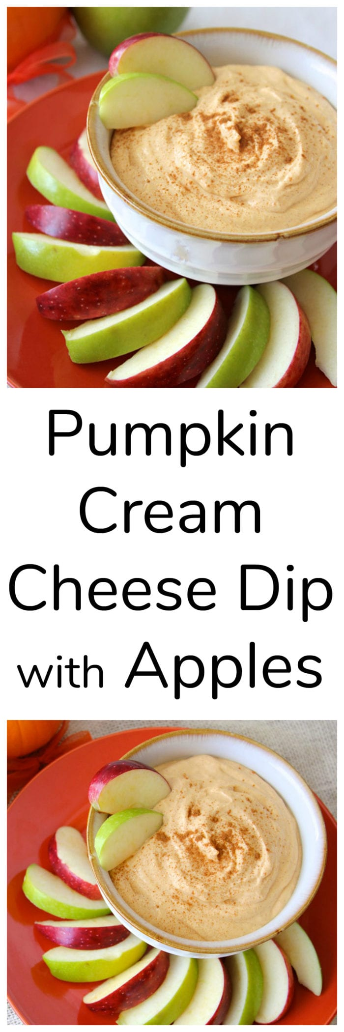 Pumpkin Cream Cheese Dip with Apples will bring a big smile to everyone at your table! www.cookingwithruthie.com