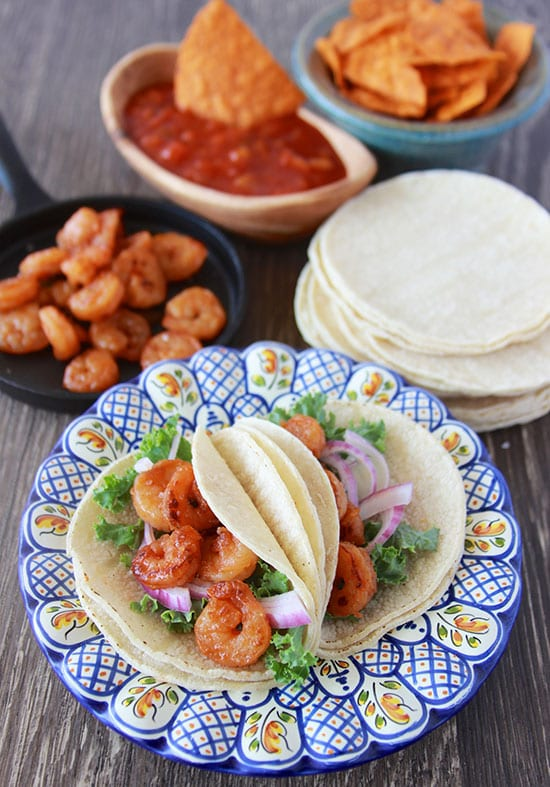 Shrimp Street Tacos Recipe are flavorful and oh so tasty. . . just perfect for your Cinco de Mayo fiesta! by www.cookingwithruthie.com