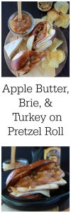 Apple Butter, Brie, and Turkey on Pretzel Roll is an amazing flavor combination and perfect for fall! www.cookingwithruthie.com