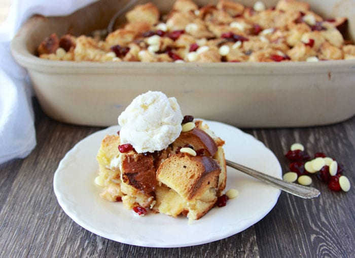 White Chocolate Craisin Bread Pudding will be your holiday dessert or brunch even more festive! www.cookingwithruthie.com