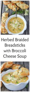 Herbed Braided Breadstick with Broccoli and Cheese Soup is ready in 15 minutes and perfect for weekday nights! www.cookingwithruthie.com @Progresso @walmart #ad