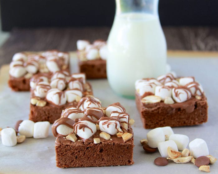 Rocky Road Brownies are one of my all time favorites on my birthday! www.cookingwithruthie.com