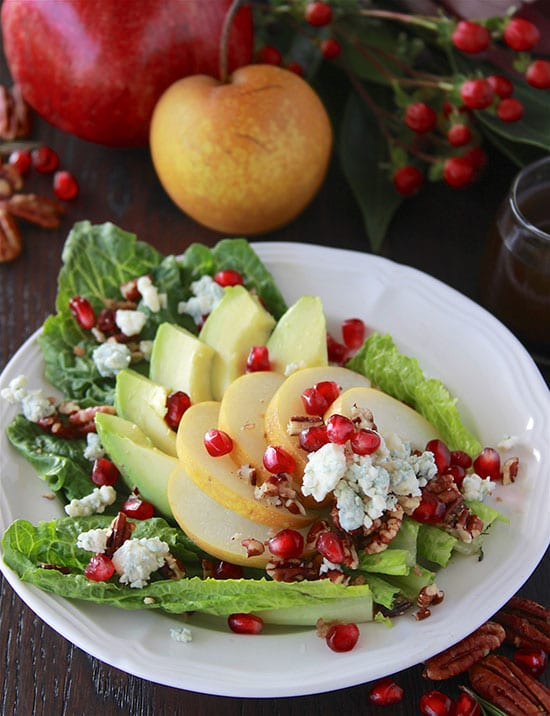 Asian Pear, Avocado, and Blue Cheese Salad is a festive addition to your holiday dinner table! www.cookingwithruthie.com