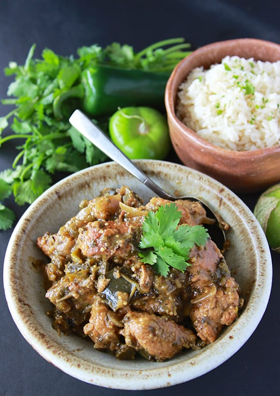 Pork Chili Verde is a Tex-Mex dream come true! You'll love it! www.cookingwithruthie.com