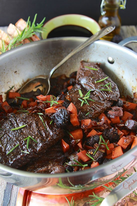 Rosemary Balsamic Flank Steak with Sweet Potato and Figs is a one-pot decadent wonder! www.cookingwithruthie.com