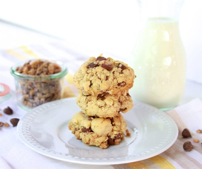 Toffee Chocolate Chip Oatmeal Cookies are a deliciously, flavorful, moist cookie! www.cookingwithruthie.com