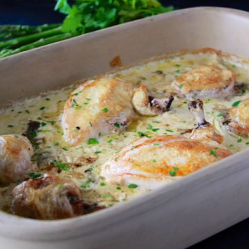 Chicken Mushroom Bake is a favorite during the cold winter months! www.cookingwithruthie.com