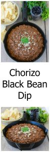 Chorizo Black Bean Dip will be the PAR-tay star of your Super Bowl Party this year!! www.cookingwithruthie.com