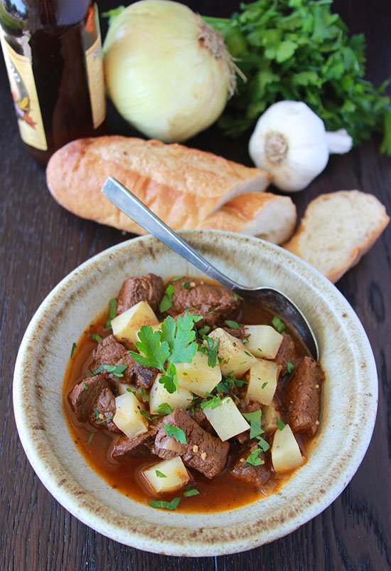 Guinness Beef Stew is a winter must-try and highlights from my trip to Guinness Factory in Dublin, Ireland! #cookingwithruthie.com #guinness