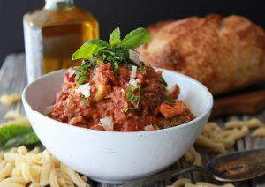 Meatless Bolognese Sauce & Vaticano is a traditional Italian red sauce with highlights from Vatican City, Italy! #italy #CittàdelVaticano #cookingwithruthie