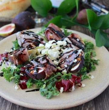 Prosciutto Wrapped Figs and Feta Salad with Balsamic Drizzle is a lovely addition to any meal! www.cookingwithruthie.com