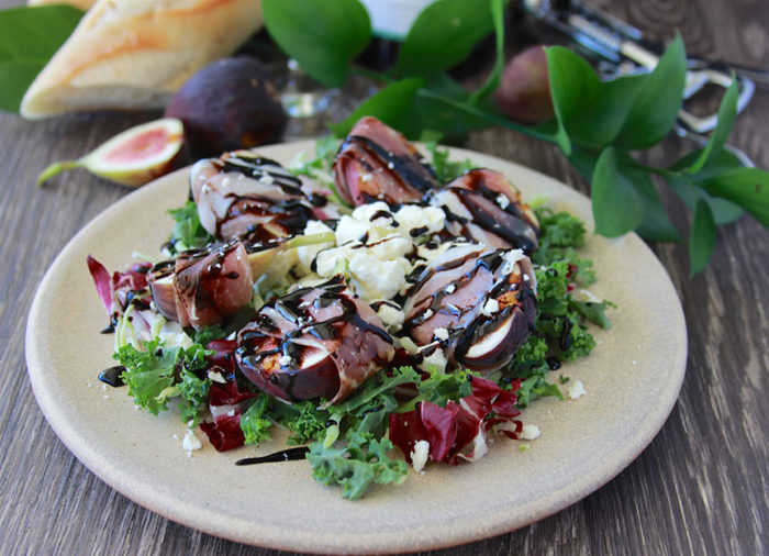Prosciutto Wrapped Figs and Feta Salad with Balsamic Drizzle Recipe a wonderful way to start your holiday gathering! by cookingwithruthie.com
